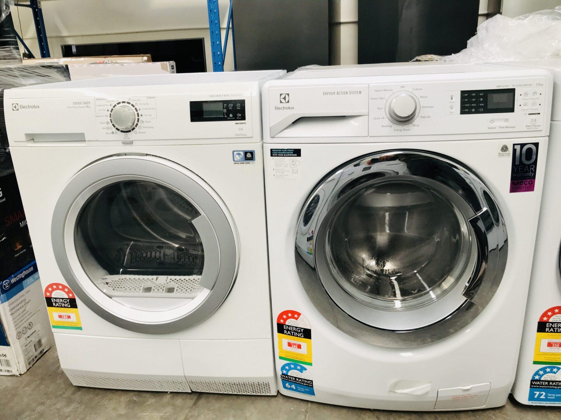 Electrolux 7.5 Kg Front Load Washing Machine & Electrolux 8kg Heat Pump Dryer 6 Stars Energy Rating  EWF7524CDWA EDH3786GDW