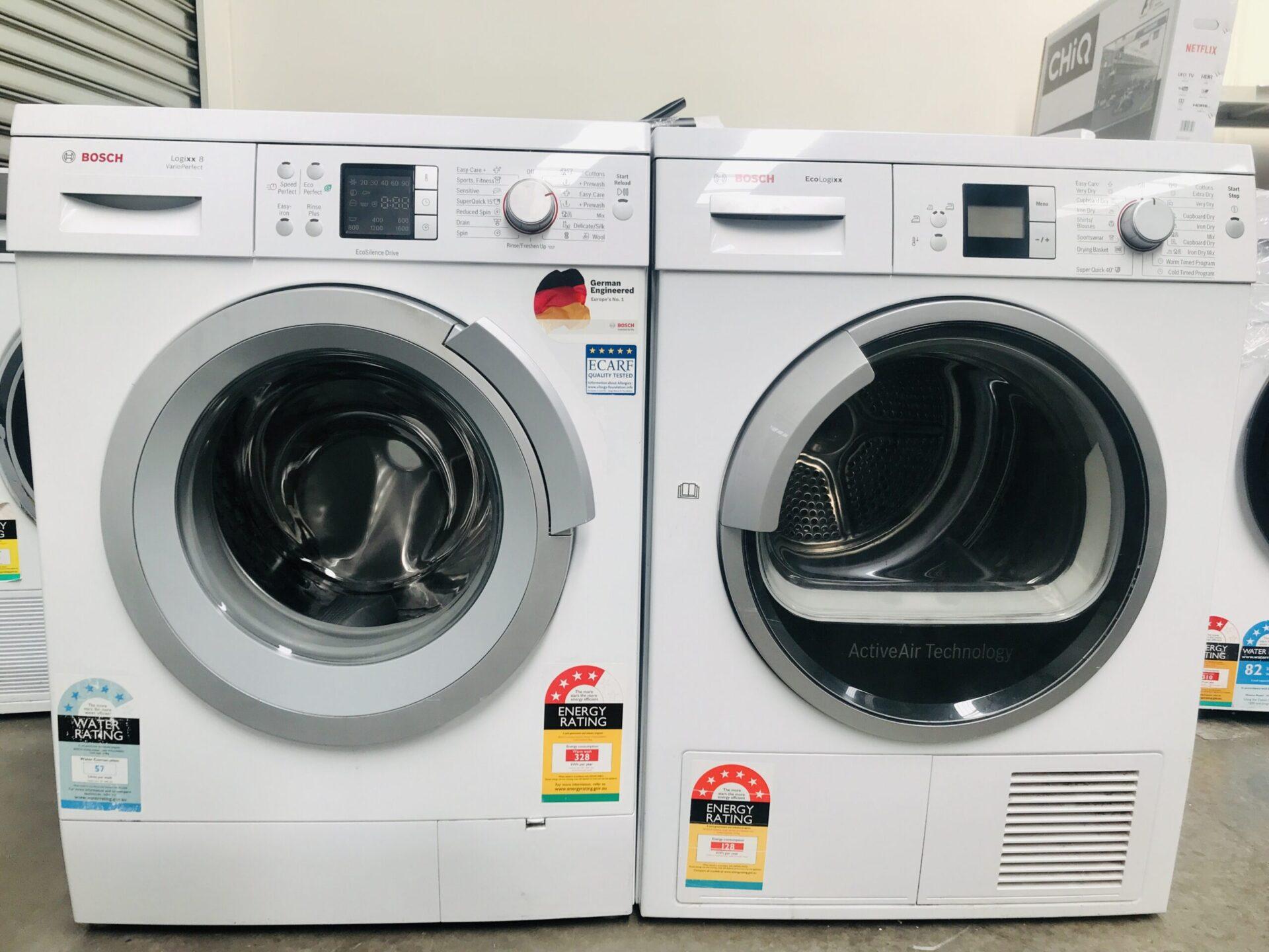 Bosch 8kg Front Load Washing Machine(German Made) & Bosch 6.5kg Heat Pump Dryer WAS32440AU  WTW86561AU